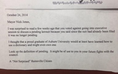 "Rainsville Mayor Tweets ""Fan Mail"""