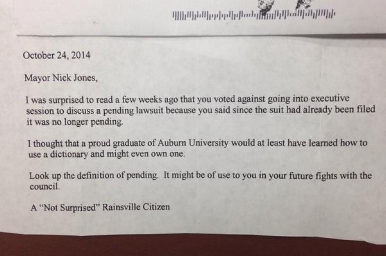 """Rainsville Mayor Tweets """"Fan Mail"""""""