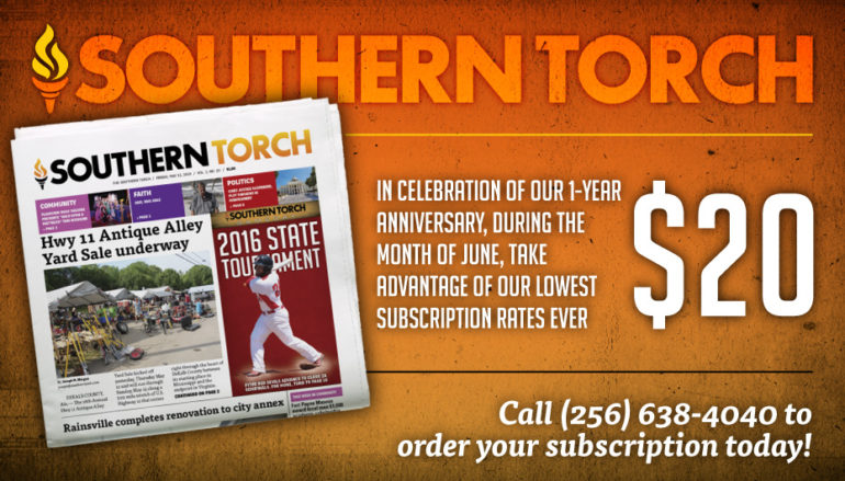 Get a year's subscription of Southern Torch for only $20