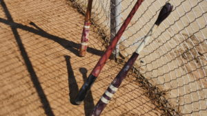 The style of bats used in early baseball. No gloves were used. (Photo by Tyler Pruett)