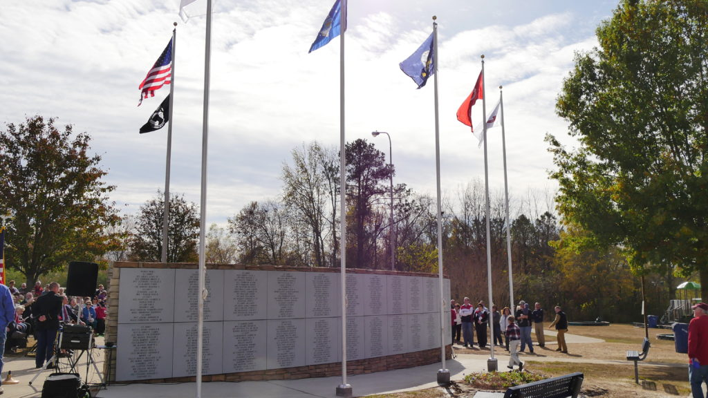 The back of the memorial features names of locals who served our nation during conflicts since WWII. The names were submitted by family and friends. (Tyler Pruett | Southern Torch)