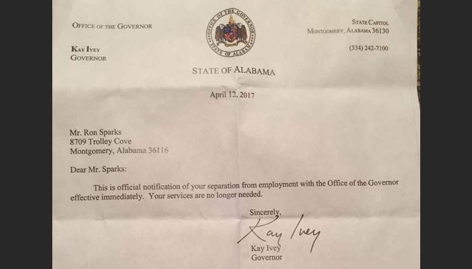 JUST IN: Governor Kay Ivey officially fires Ron Sparks