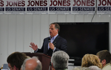 VIDEO: Doug Jones addresses crowd in Fyffe