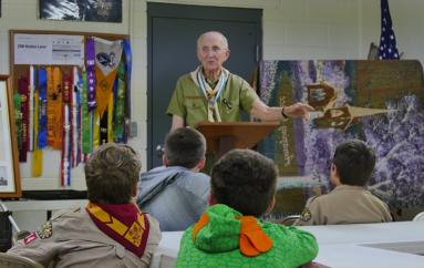 Dr. Marvin Barron addresses Rainsville Scout Troop