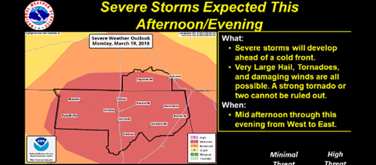 DeKalb, Jackson, Cherokee, and Etowah Counties under Tornado Watch until 11 pm